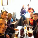 Pre-race pint in Three Tuns - No dogs allowed!!!